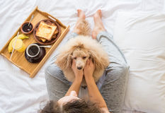 Young woman with her dog in a bed. Royalty Free Stock Image