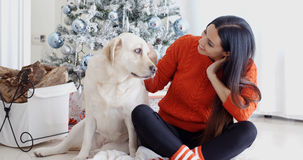 Young woman and her dog celebrating Christmas Royalty Free Stock Photo