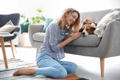 Young woman with her dog. At home Stock Photo