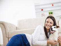 Young woman with her dog Stock Photos