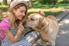 Young woman and her dog spending time together. Outdoors. Pet care Stock Images
