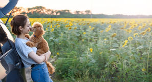 Young woman with her dog standing near the car . Royalty Free Stock Photo
