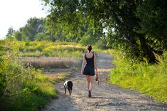 Young woman with her dog walking in the country Royalty Free Stock Photo