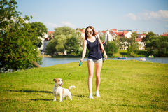 Young Woman with her Dog Walking in the Park Stock Photos