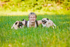 Young woman with her dogs Royalty Free Stock Photography