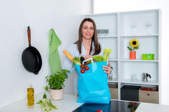 Young woman with her food- shopping in the kitchen. Young dark haired woman with her food- shopping in the kitchen Stock Images