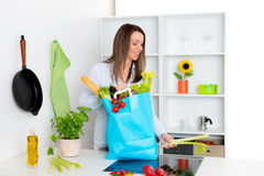 Young woman with her food- shopping in the kitchen. Young dark haired woman with her food- shopping in the kitchen Stock Image
