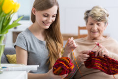 Young woman and her grandma knitting Royalty Free Stock Photo