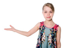 Young woman with her hand outstretched Royalty Free Stock Image