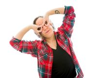 Young woman with her hands around her eyes Stock Photo