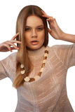Young woman with her hands in hair Royalty Free Stock Photo