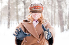 Young woman with her hat on her eyes Stock Images
