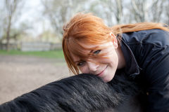 Young Woman With her Horse Royalty Free Stock Images