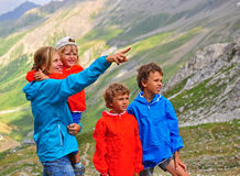 Young woman with her kids in mountains Royalty Free Stock Photo