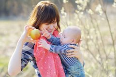 Young woman with her little baby boy Royalty Free Stock Photo