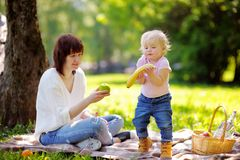 Young woman and her little son having a picnic Royalty Free Stock Photo