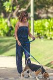 Young woman with her lovely beagle dog in the park of Bali island, Indonesia. Young woman with her lovely beagle dog in the park of Bali island Stock Image