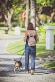 Young woman with her lovely beagle dog in the park of Bali island, Indonesia. Royalty Free Stock Photo