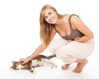 Young woman with her lovely cat Stock Image