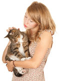 Young woman with her lovely grey cat Stock Photography