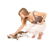 Young woman with her lovely grey cat Stock Image