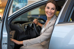 Young woman with her new car Stock Photos