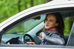 Young woman and her new car Stock Photo