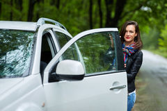 Young woman and her new car Royalty Free Stock Images