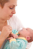Young woman with her newborn baby Stock Photo