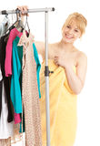 Young woman in her own dressing room Royalty Free Stock Images