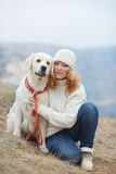 Young woman and her pet dogs Stock Photography