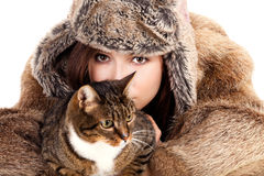 Young woman and her pet Stock Image
