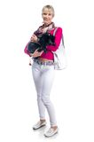 Young woman with her puppy Royalty Free Stock Images