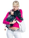 Young woman with her puppy Stock Photo
