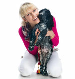 Young woman with her puppy Stock Photos