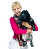 Young woman with her puppy Royalty Free Stock Photography