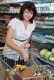 Young woman with her purchased grocery item. Portrait of a happy young woman with her purchased grocery items in a cart Royalty Free Stock Photo