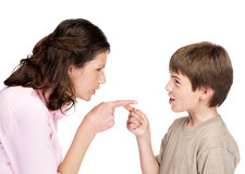 Young woman and her son pointing to each other Royalty Free Stock Images