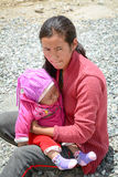 Young woman and her son at Tibetan village in Ladakh, India Stock Photo