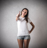 Young woman with her thumb up Stock Photos