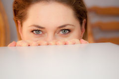 Young woman hides Stock Photos