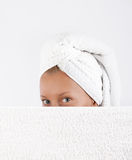Young woman hiding after bath Royalty Free Stock Image
