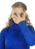 Young woman hiding his face. Stock Image