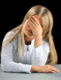 Young woman hiding his face. Royalty Free Stock Images