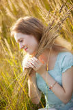 Young woman with high grass Royalty Free Stock Photo