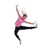 Young woman in high jump isolated Royalty Free Stock Photo