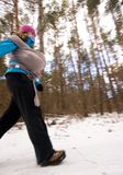 Young woman hike in forest with baby Stock Photography