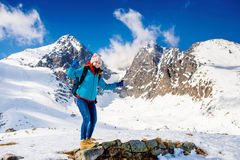 Young woman on a hike Stock Images
