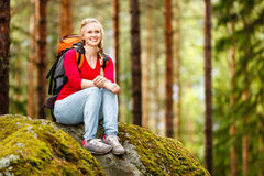 Young woman hiker on a break Royalty Free Stock Photos
