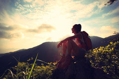Young woman hiker enjoy the view Stock Photos